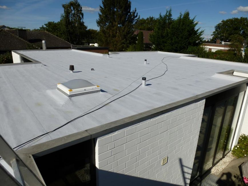 Roof renovation with liquid plastic - roof is ready